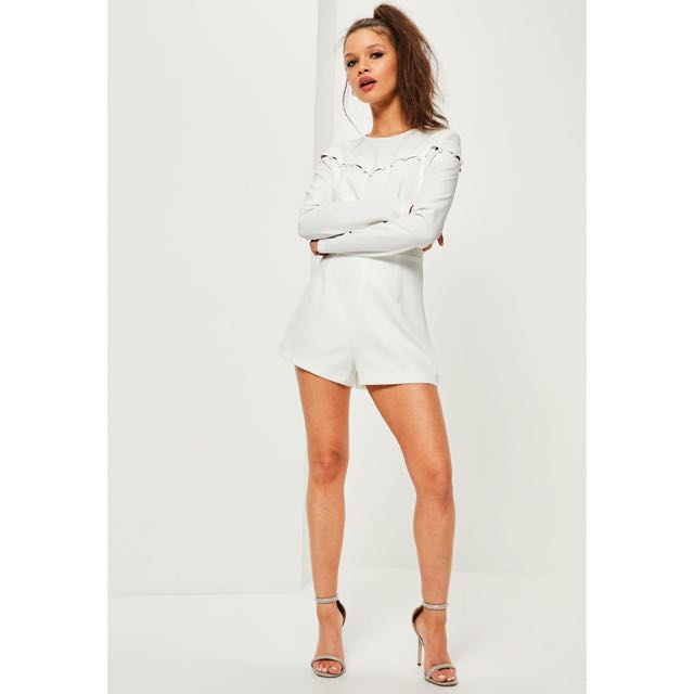 f89d9f646ce0 Missguided White Button Detail Long Sleeve Playsuit