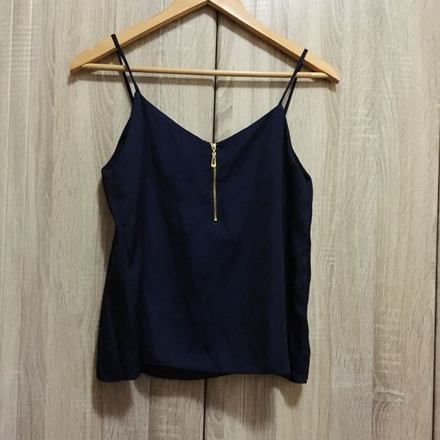 Navy Blue Silk Top w/ zipper