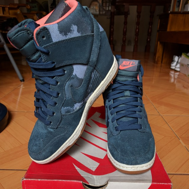 best sneakers eb432 9b65a Nike Dunk Sky Hi Print Wedge Shoes Armory Navy Blue, Women s Fashion ...