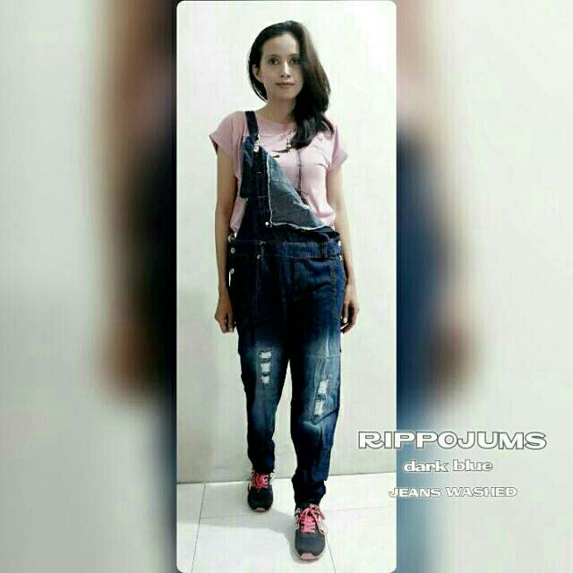 Overall Ripped Jeans Real Pict
