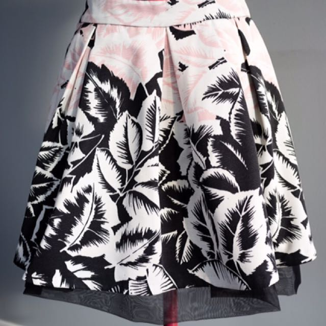 Pink Black & White Poufy Floral Skirt