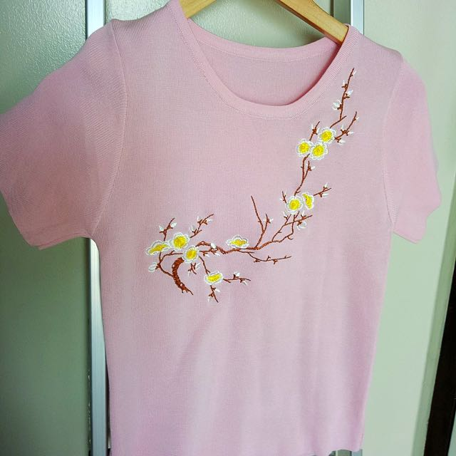 Pink Korean Knitted Blouse