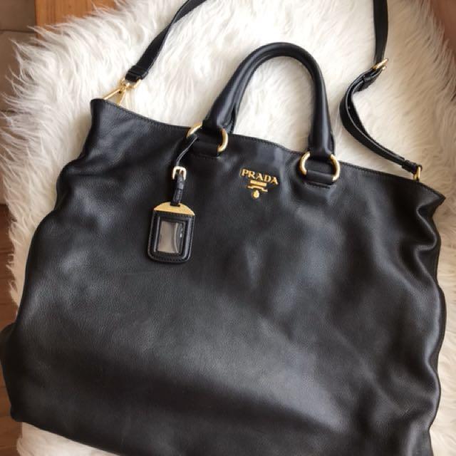 c62a65e9b698 Prada Nero Black Soft Calf Leather Bag (10 10)