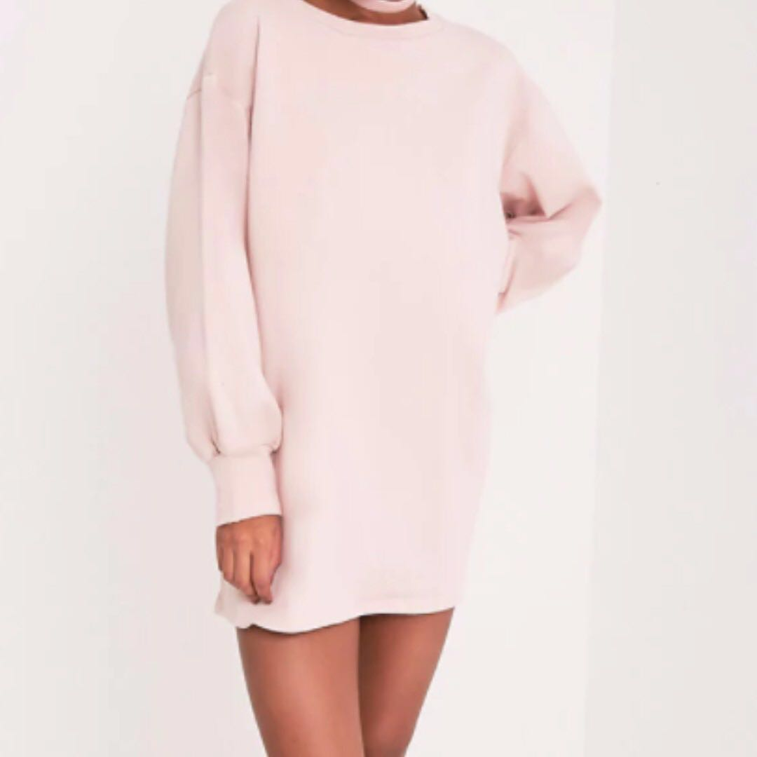 PRETTY LITTLE THINGS NUDE OVERSIZED SWEATER DRESS