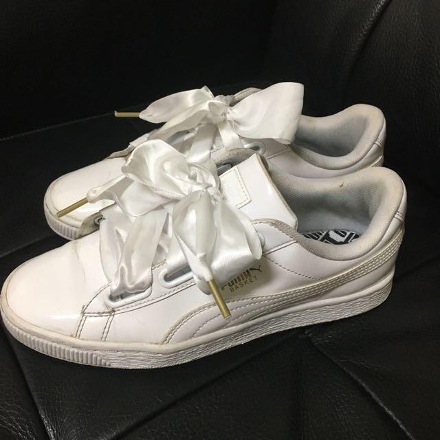 Puma basket heart 漆皮白 緞帶蝴蝶結球鞋