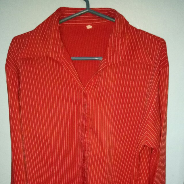 Red Collared Long Sleeves Blouse