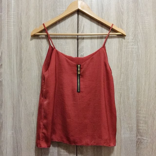 Red Silk Top w/ Zipper