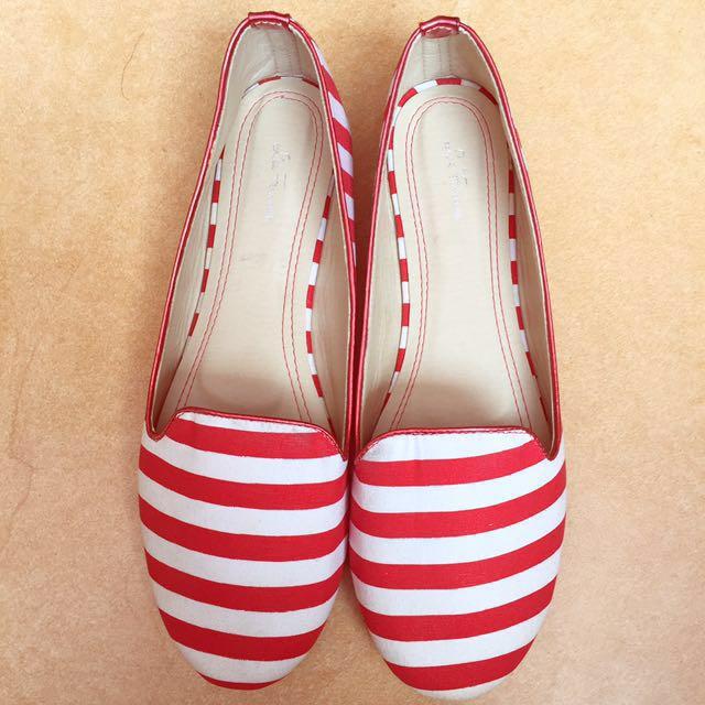 Reprice! Les Femmes Stripe Flatshoes