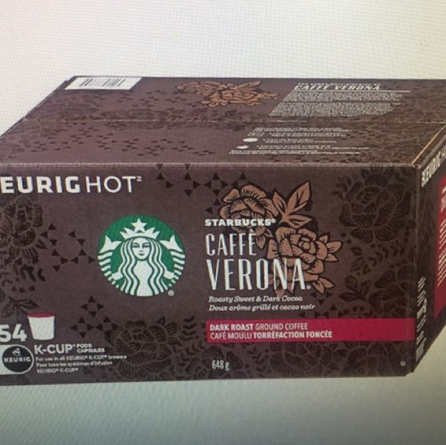 Starbucks caffe Verona Coffee 54 k-cup packs for keurig brewers
