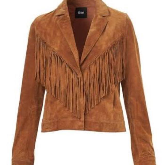 Suede Tan Festival Jacket With Tassels