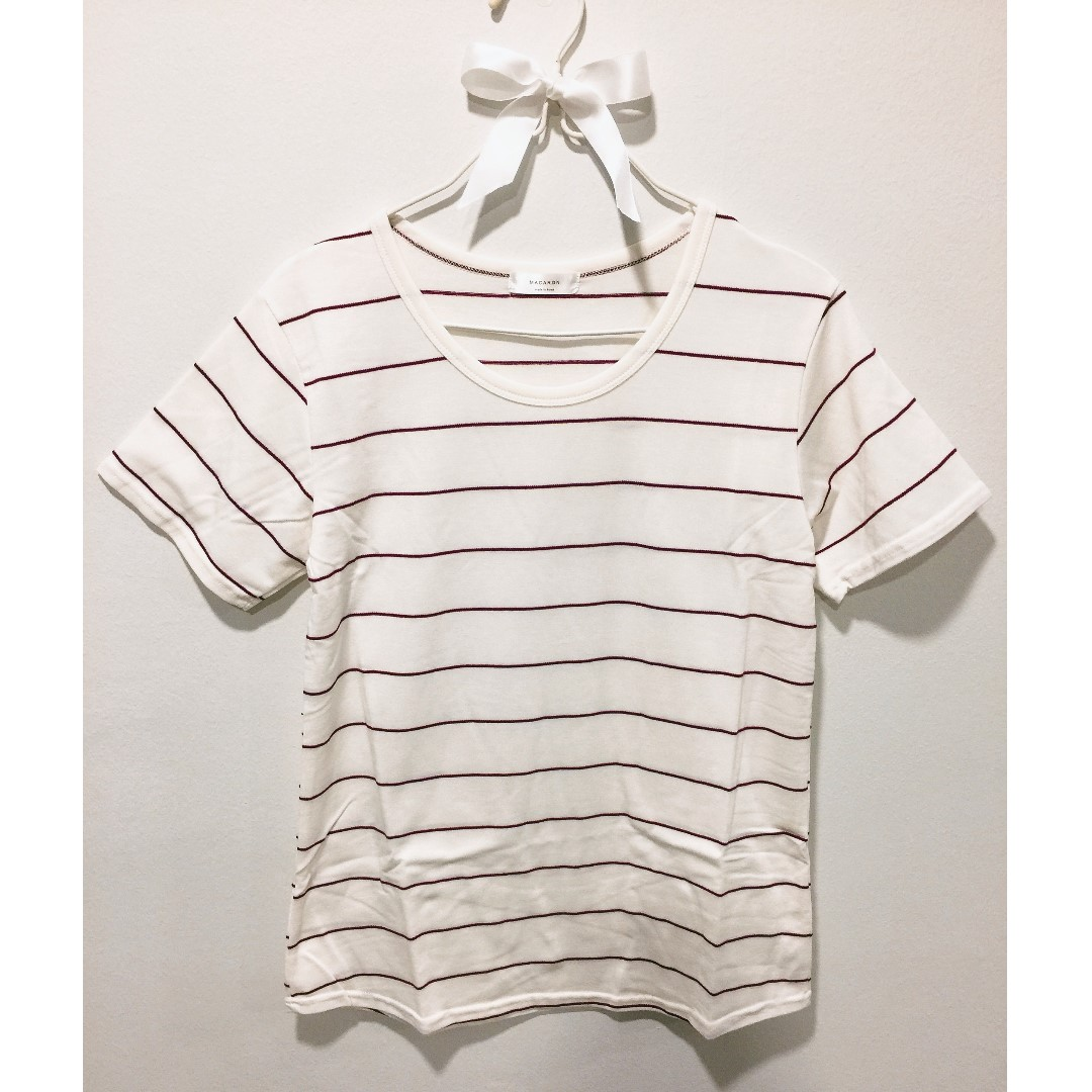 Thin Strip Shirt - Made in Korea (Maroon stripe)