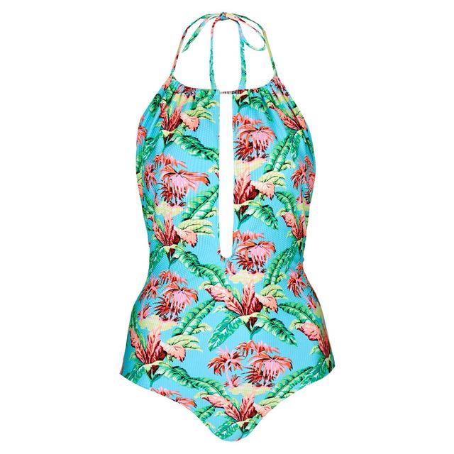 0fad2d2cc7 Topshop Cut Out One Piece Swimsuit in Tropical Print, Women's ...