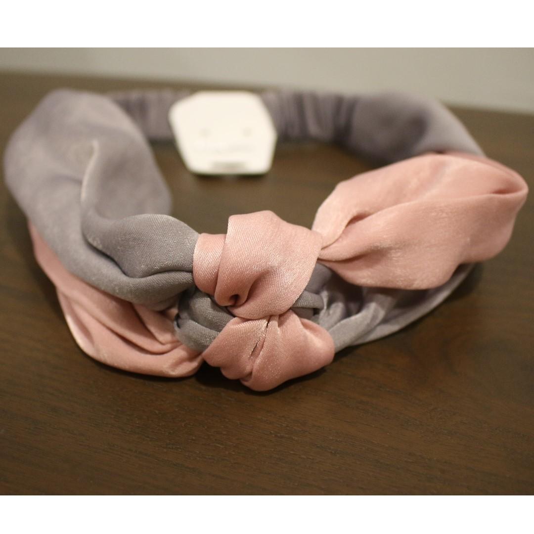 Twisted Bow Headband (Pink&Grey)