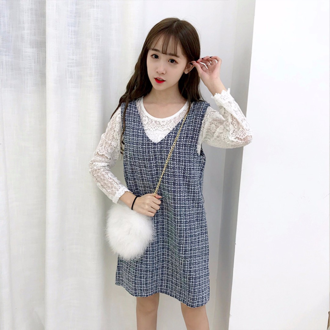 1fcfe9a714 White Inner Floral Lace Top With Checkered Plaid V-Neck Overall ...