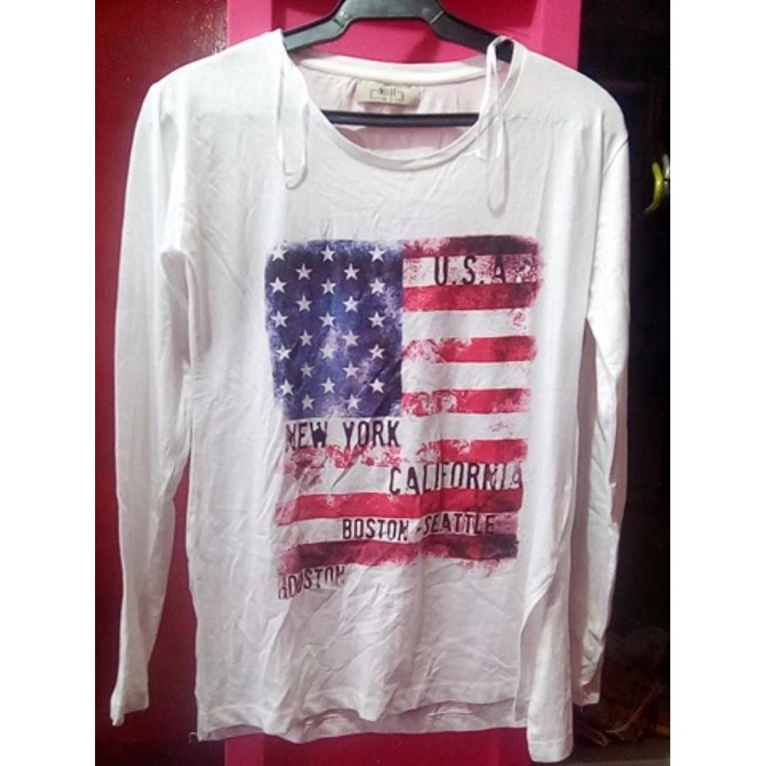 White long sleeve (USA flag print)