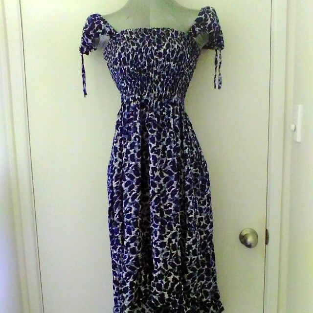 Women's Shabar blue leopard print dress