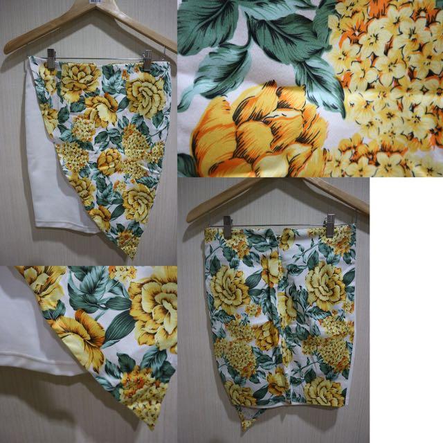Yellow Floral Asymetris Skirt