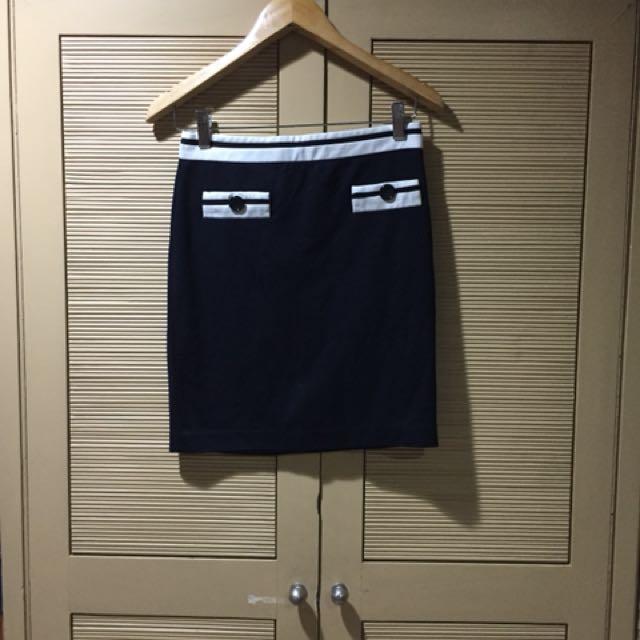 Zara Navy Blue and White Sailor Pencil Skirt