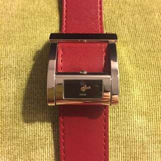 Guess 女裝紅色皮帶手錶red Leather Watch
