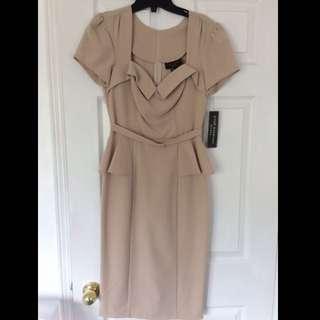 Designer Tan Retro Peplum Dress