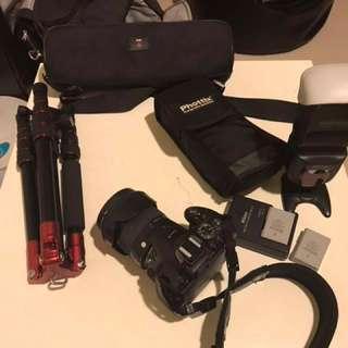 Nikond5300+sigma17-70+phottix閃燈+腳架+兩顆原廠電池+原廠充電器