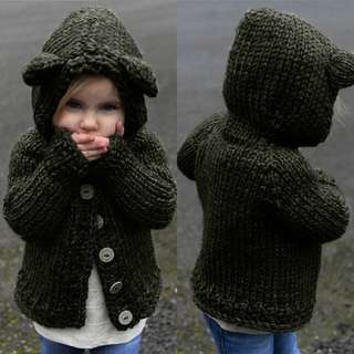Knitted Coat with Hoodie