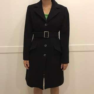 Lautreamont 日本 黑色純毛料大衣 附腰帶 M Size #外套特賣 #幫你省運費
