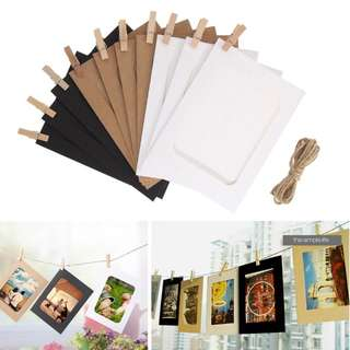 10 pcs Hanging Photo Frame with Rope and Clips