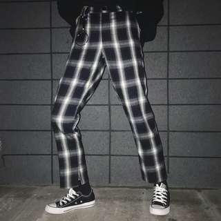 格子 寬褲