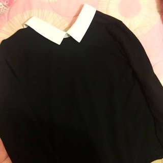 ZARA cute black white collar dress
