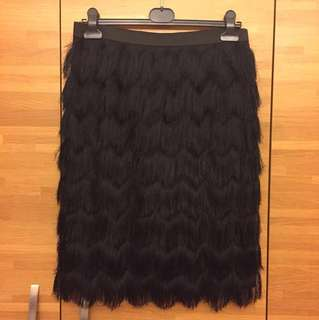 ANNA FIELD FRINGE SKIRT (Black)