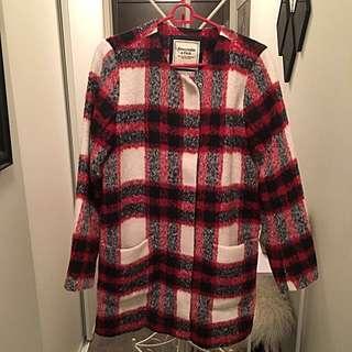 A&F Collarless Wool Blend Coat