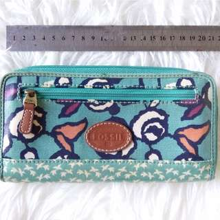 Fossil keyper long wallet green rose