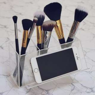 Makeup brush box holder with phone stand