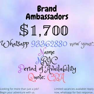 BRAND AMBASSADORS NEEDED!! UP TO $1700++|WHATSAPP NOW FOR FAST RESPONSE