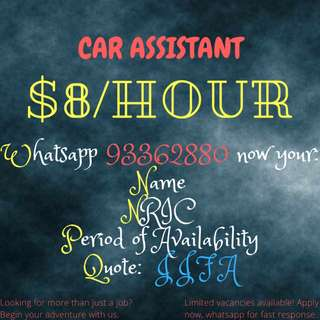 LOOKING FOR CAR ASSISTANT!! 3 MONTHS | WHATSAPP NOW FOR FAST RESPONSE