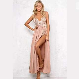 Showpo Blush Sequin Maxi