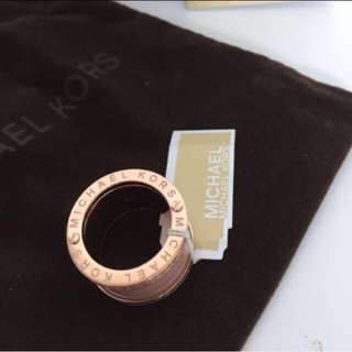 Authentic Michael Kors Pave Rose Gold Tone And Acetate Ring