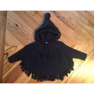 Seed heritage navy blue knit poncho, size M / L