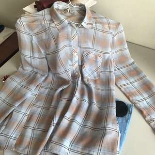 H&M 輕柔雪紡藍格紋罩衫襯衫#雙十一女裝出清