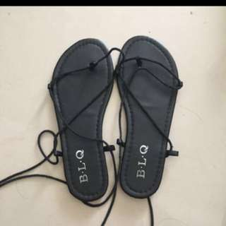 黑色 綁帶 羅馬 平底 涼鞋