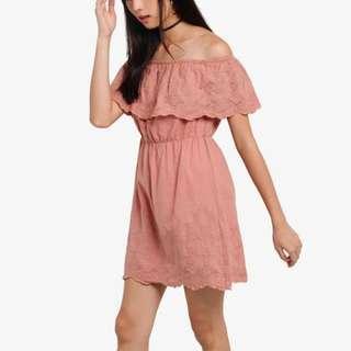 ZALORA Something Borrowed Dusty Rose Pink Pastel Off Shoulder Flower Floral Lace Dress