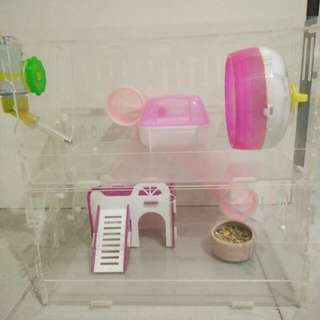 Preloved Acrylic 2 story cage
