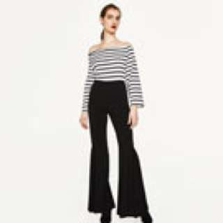 Zara SS17 Off Shoulder Black White Top