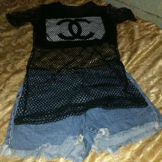 Chanel blouse and levis denim shorts