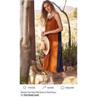 Blonda two way midi dress in rust/navy