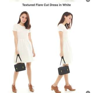 Textured Flare Cut Dress In White