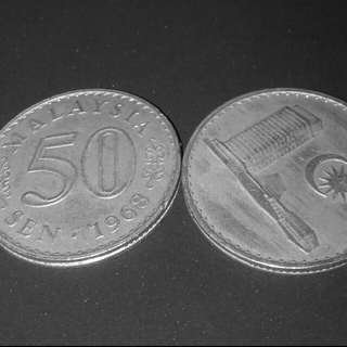 1968 50cent Coins. 2 units for sale Rm100 per unit..   Mild edge edition
