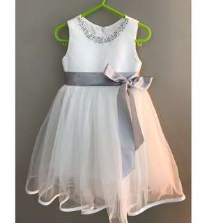 Flower girl pure white dress with tutu, silver sequins and waist ribbon.  For18--30months toddler girl