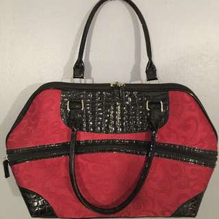 imported black and maroon/red bag